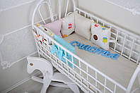 """Комплект """"Классик"""" Мороженое в кроватку: 12 подушек-бортиков + 12 наволочек + простынь на резинке 120*60 см ТМ MagBaby"""