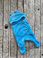 Махровый универсальный спальник-человечек-конверт для мальчика (0-6 / 6-12 месяцев) ТМ MagBaby Лазурный