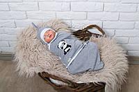 "Современная евро пеленка-кокон на липучках ""Панда"" + шапочка для ребенка 0-3 / 3-6 месяцев ТМ MagBaby 0-3"