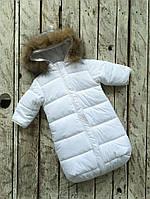 """Теплый комбинезон-конверт """"Дутик SuperStar"""" для малыша с рождения до 6 месяцев ТМ MagBaby Белый"""