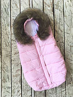 """Теплый зимний конверт """"Дутик Snowman"""" для малыша с рождения до 6 месяцев ТМ MagBaby Розовый"""