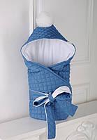 Утепленный зимний стеганый джинсовый конверт на махре для малыша с рождения ТМ MagBaby Синий