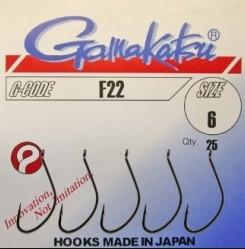 Крючки Gamakatsu F22 №6           ( 25шт.)