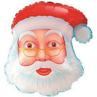 Шар фольгированный Голова Деда Мороза, Санта Клауса  80 см