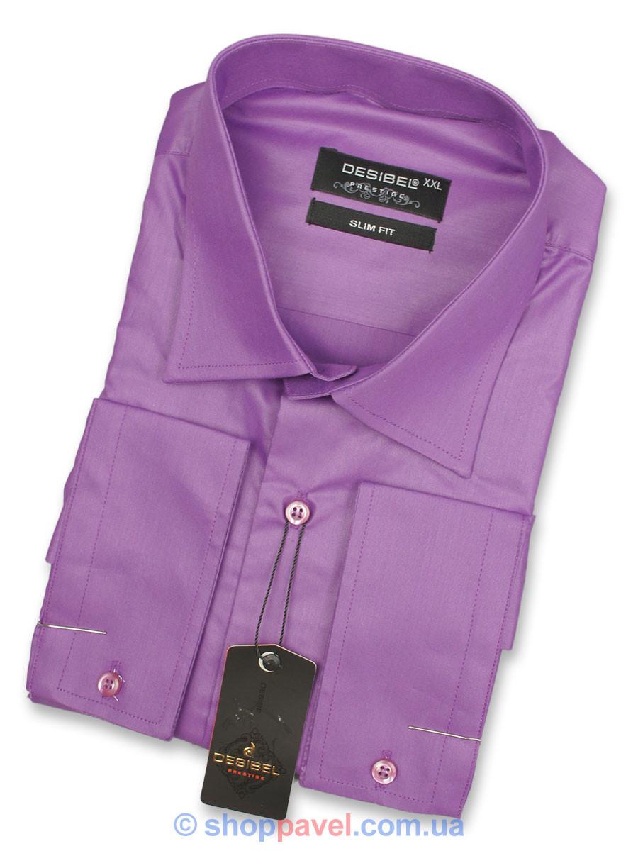 Сиреневая однотонная мужская рубашка Negredo 31195 Slim