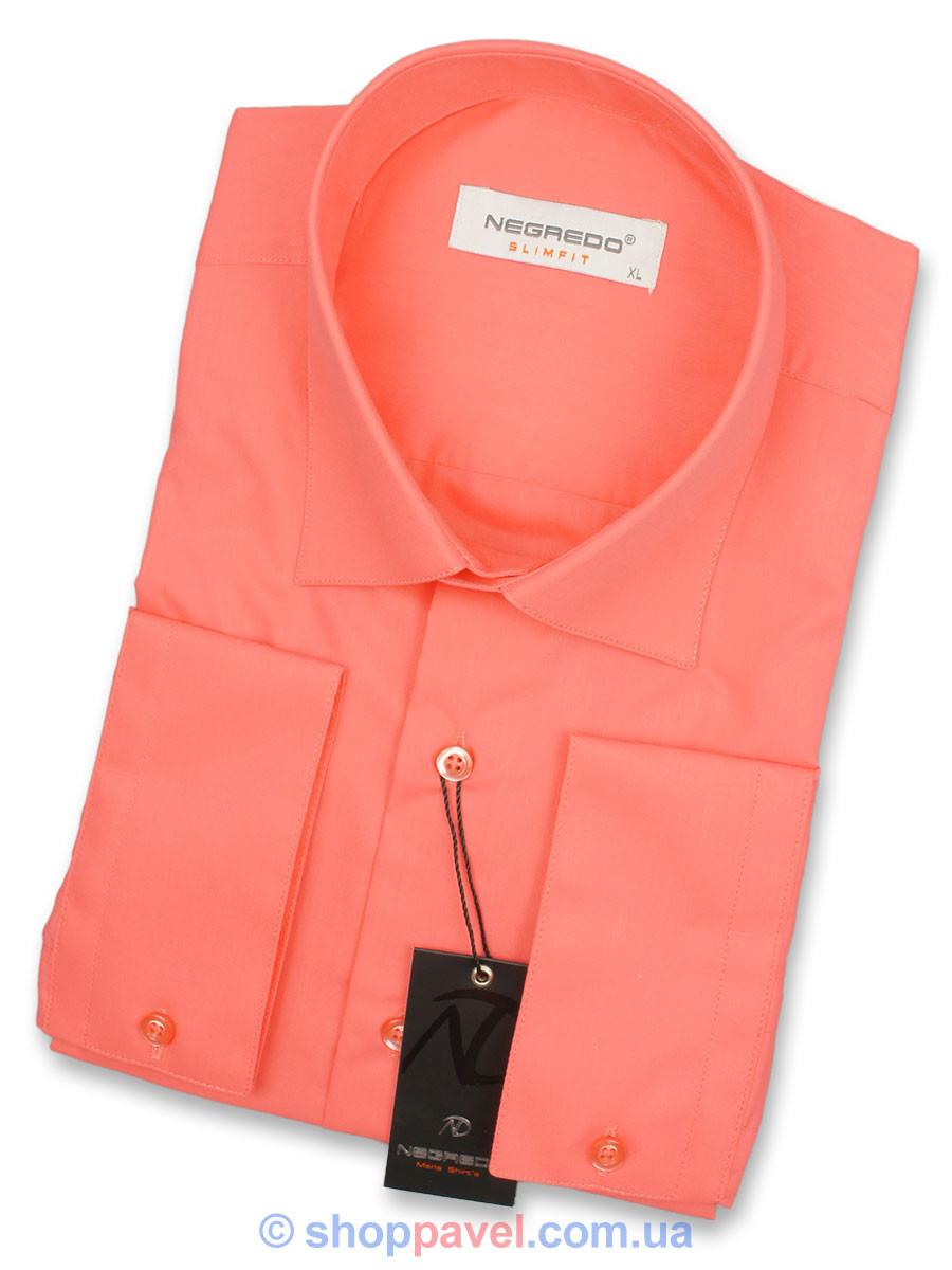 Мужская рубашка Negredo 23157 Slim кораллового цвета