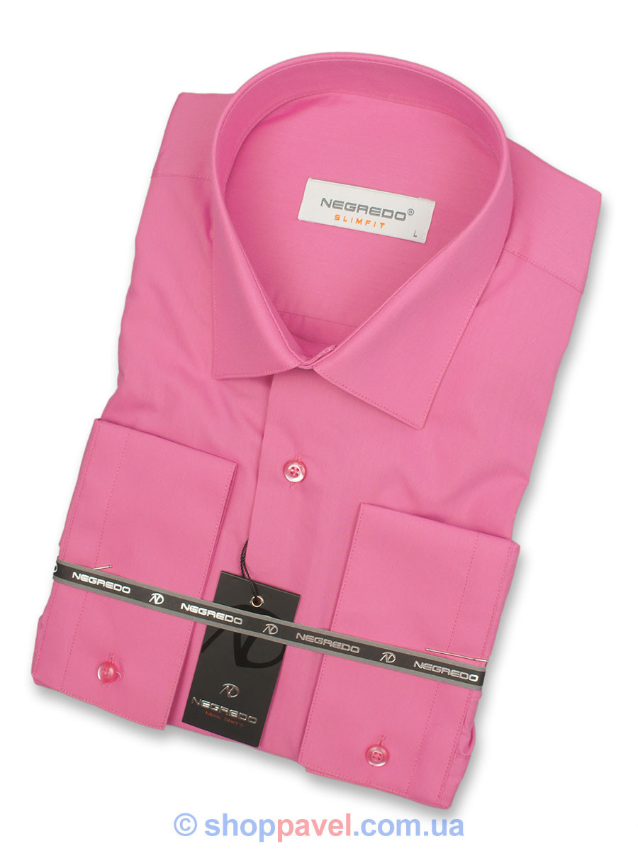 Рубашка мужская Negredo Slim 26154 в розовом цвете