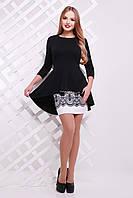 Женский юбочный костюм чёрно-белого цвета, размер 44-48