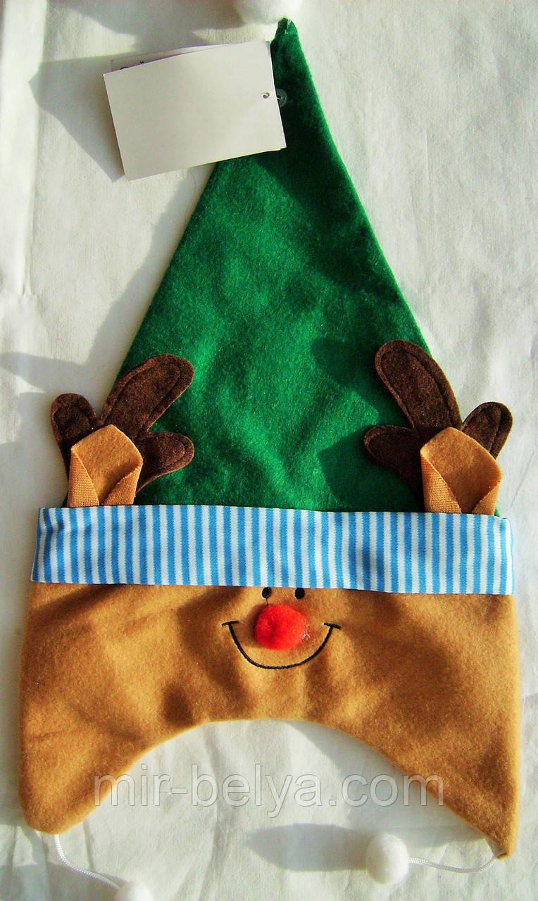 Новогодняя шапка олененок