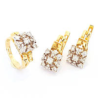 Золотое кольцо, серьги с бриллиантами