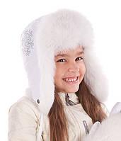 Шапка-ушанка для девочки Виктория  - Белый