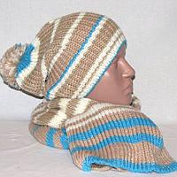 Комплект Odji - шапка и шарф в бежево-голубых тонах