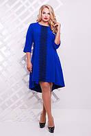 Женское трикотажное платье со шлейфом Милана с кружевом цвет электрик до 56 размер