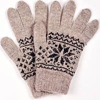 """Шерстяные перчатки мужские """"Снежинка белая"""""""