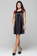 """Платье черное с красными перьями """"Паулина"""" из атласа"""