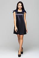 """Платье черное с синими перьями """"Паулина"""" из атласа"""