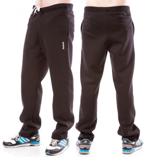ТЕПЛЫЕ спортивные штаны мужские больших размеров на флисе в стиле Рибок (Reebok) черные баталы Украина
