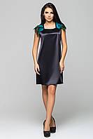 """Платье черное с зелеными перьями """"Паулина"""" из атласа"""