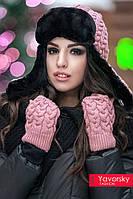 Ушанка женская и рукавички комплект
