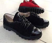Элегантные женские туфли низкий ход на шнурках, натуральный замш и кожа. Черный цвет