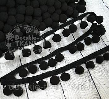 Тесьма с помпонами 20 мм чёрного цвета (Польша)