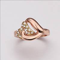Кольцо покрытие золото 18К сердце чешский хрусталь проба