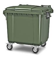 Передвижной мусорный контейнер iPlast 1100 л с люком в крышке (зеленый)