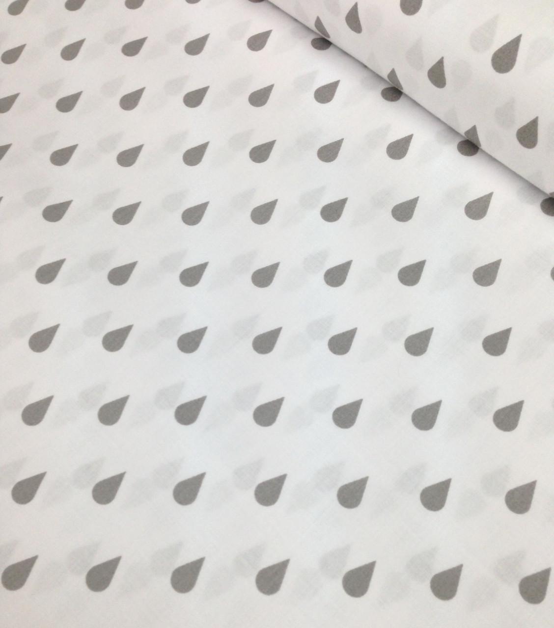 Хлопковая ткань польская капли серые на белом