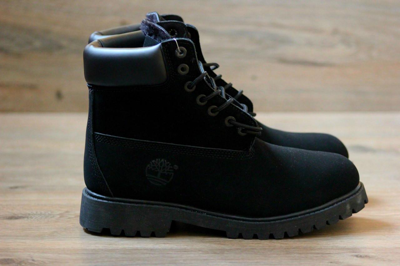 Ботинки в стиле Timberlands 6 inch Natural Black (С Мехом) женские -  Интернет- 5b11572ca40