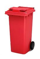 Передвижной мусорный контейнер iPlast 120 л с крышкой  (красный)