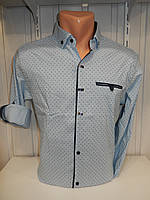 Рубашка мужская Alberto Maldini рукав трансформер, стрейч узор №5 002 \ купить рубашку