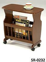 Кофейный столик SR-0232, сервировочный кофейный столик с газетницей на колесиках, Царапины на столешнице