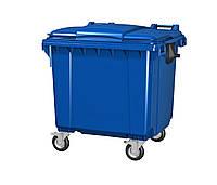 Передвижной мусорный контейнер iPlast 1100 л с люком в крышке (синий)