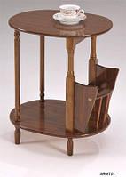 Кофейный столик SR-0751, деревянный кофейный столик с газетницей, орех