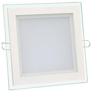 Светильник точечный светодиодный 12Вт врезной Biom квадратный + стекло белый