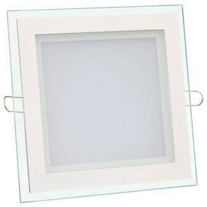 Светильник точечный светодиодный 12Вт врезной Biom квадратный + стекло белый, фото 2