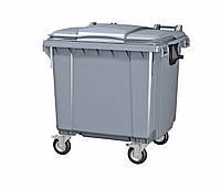 Передвижной мусорный контейнер iPlast 1100 л с люком в крышке (серый)
