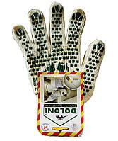 Перчатки трикотажные белые с ПВХ рисунком, Doloni