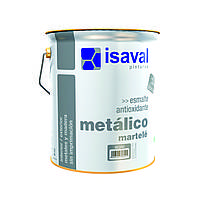 Молотковая противокоррозионная эмаль ISAVAL Мартеле 4 л серебристо-серый