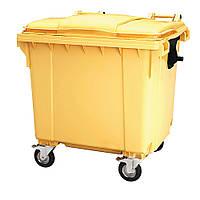 Передвижной мусорный контейнер iPlast 1100 л с люком в крышке (желтый)