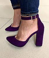Элегантные женские туфли на широком каблуку, подошва тракторная, на ремешке, натур. замша. Цвет фиолетовый