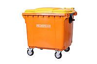 Передвижной мусорный контейнер iPlast 1100 л с люком в крышке (оранжевый)