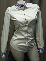 Блуза боди комбинированная бежевого цвета