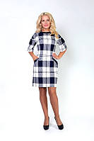 Платье из плотного трикотажа, крупная клетка, два кармана по бокам, отличный вариант на работу, р.46 код 2530М