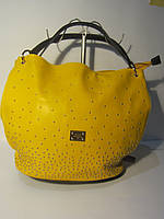 Желтая сумка Velina Fabbiano с бусинками