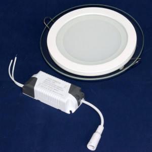 Светильник точечный светодиодный 12Вт врезной Biom круглый + стекло теплый белый свет, фото 2