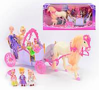 Карета 28926 А (6) лошадь, кукла 7 шт на батарейке