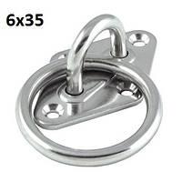 Нержавеющий мачтовый обух с кольцом на ромбовидной основе, 6х35 мм