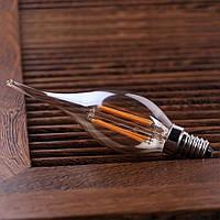"""LED лампа Эдисона C-35  (4w) E-14  (AMBER) """"NEW"""" filament (свеча на ветру)"""