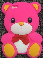 """Силиконовый ярко-розовый чехол """"Мишка"""" iphone 4/4S, фото 1"""